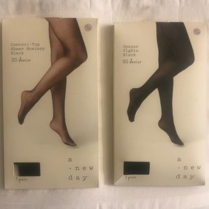 Sheet and opaque black tights